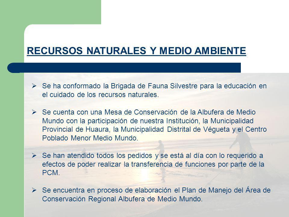 RECURSOS NATURALES Y MEDIO AMBIENTE Se ha conformado la Brigada de Fauna Silvestre para la educación en el cuidado de los recursos naturales. Se cuent