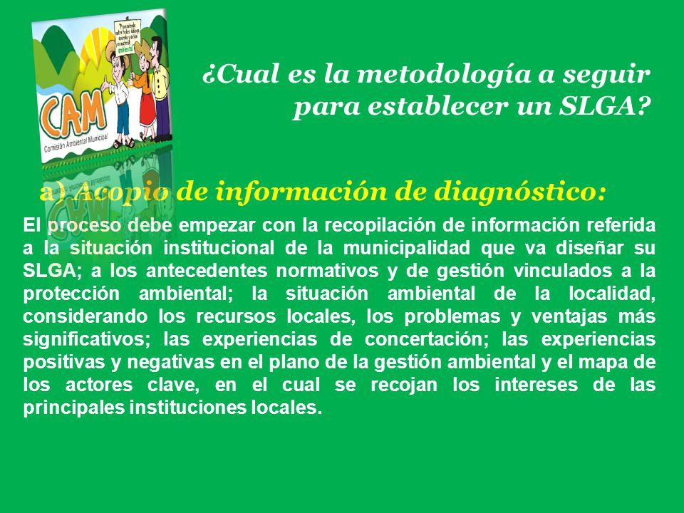 ¿Cual es la metodología a seguir para establecer un SLGA? a) Acopio de información de diagnóstico: El proceso debe empezar con la recopilación de info