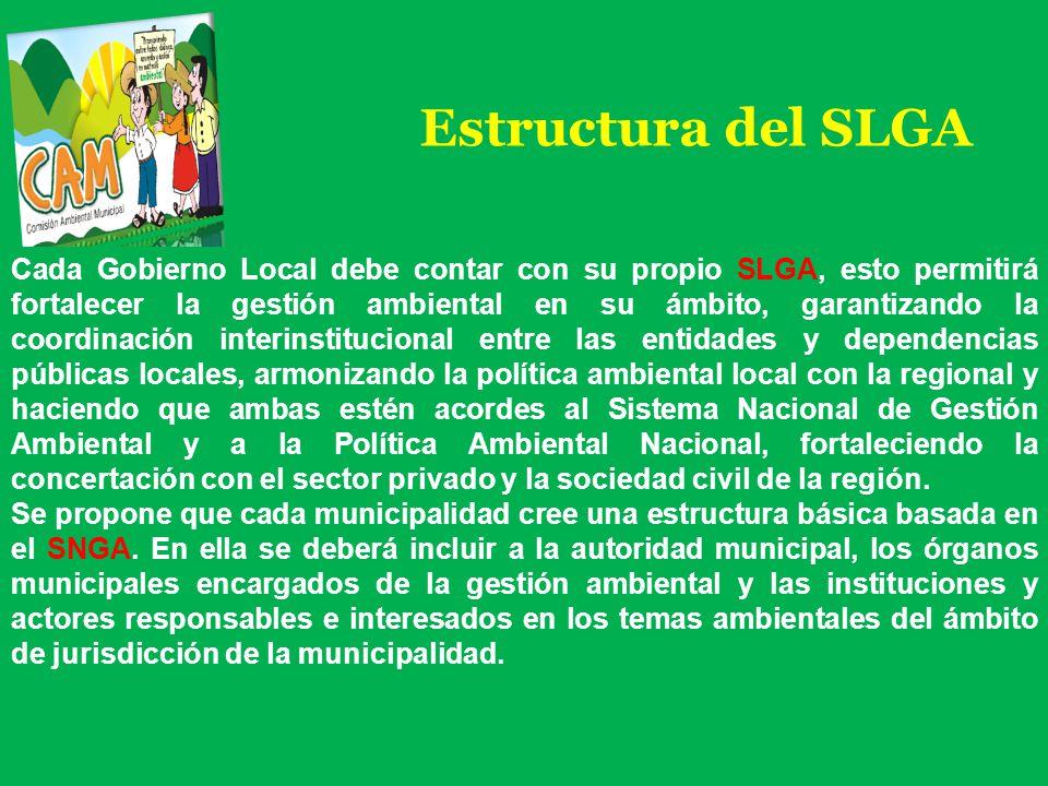 Estructura del SLGA Cada Gobierno Local debe contar con su propio SLGA, esto permitirá fortalecer la gestión ambiental en su ámbito, garantizando la c