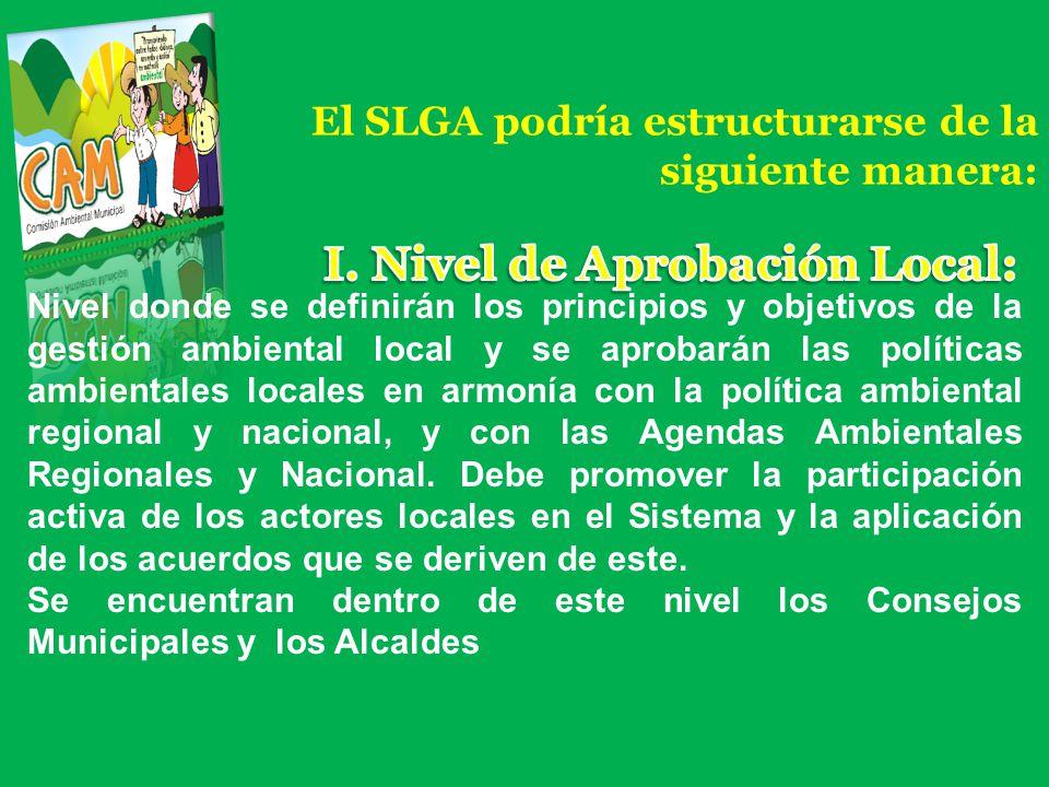El SLGA podría estructurarse de la siguiente manera: Nivel donde se definirán los principios y objetivos de la gestión ambiental local y se aprobarán