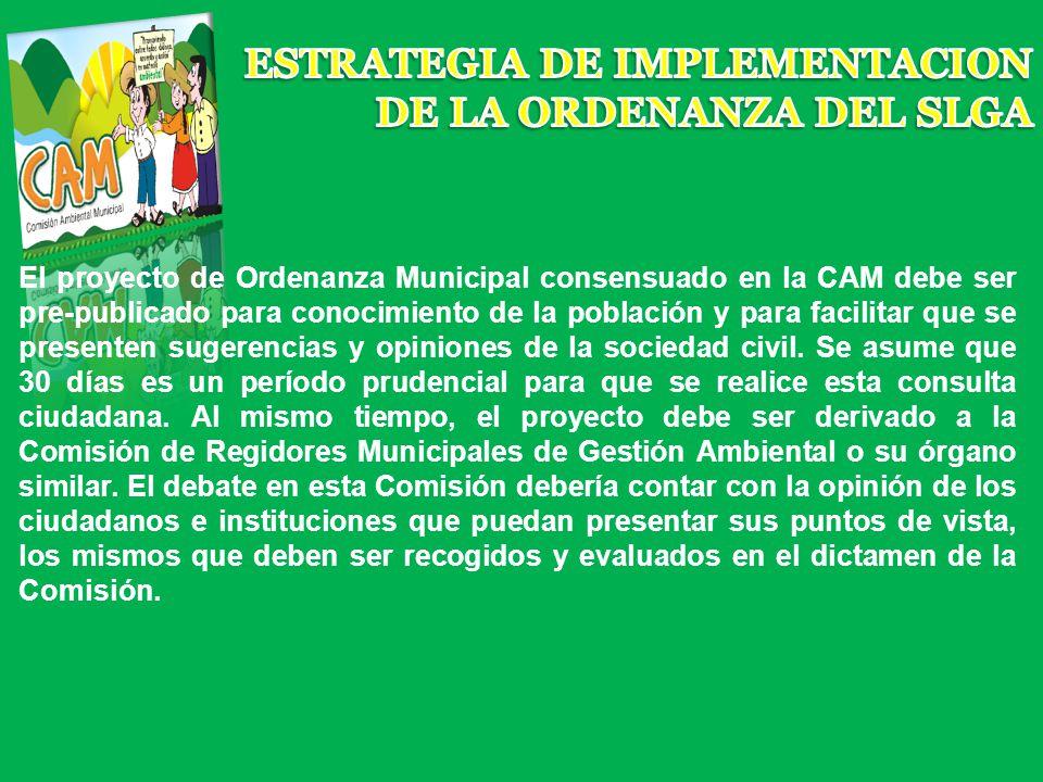 El proyecto de Ordenanza Municipal consensuado en la CAM debe ser pre-publicado para conocimiento de la población y para facilitar que se presenten su