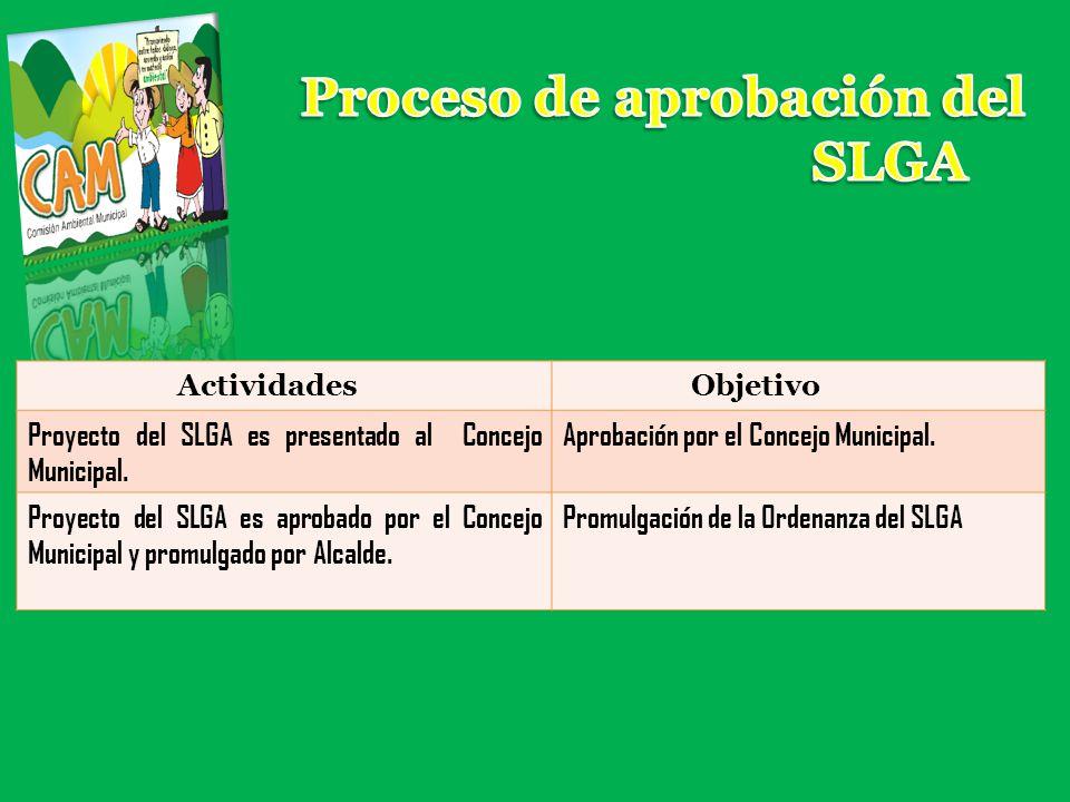 ActividadesObjetivo Proyecto del SLGA es presentado al Concejo Municipal. Aprobación por el Concejo Municipal. Proyecto del SLGA es aprobado por el Co