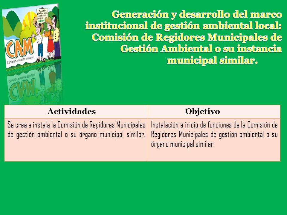 ActividadesObjetivo Se crea e instala la Comisión de Regidores Municipales de gestión ambiental o su órgano municipal similar. Instalación e inicio de