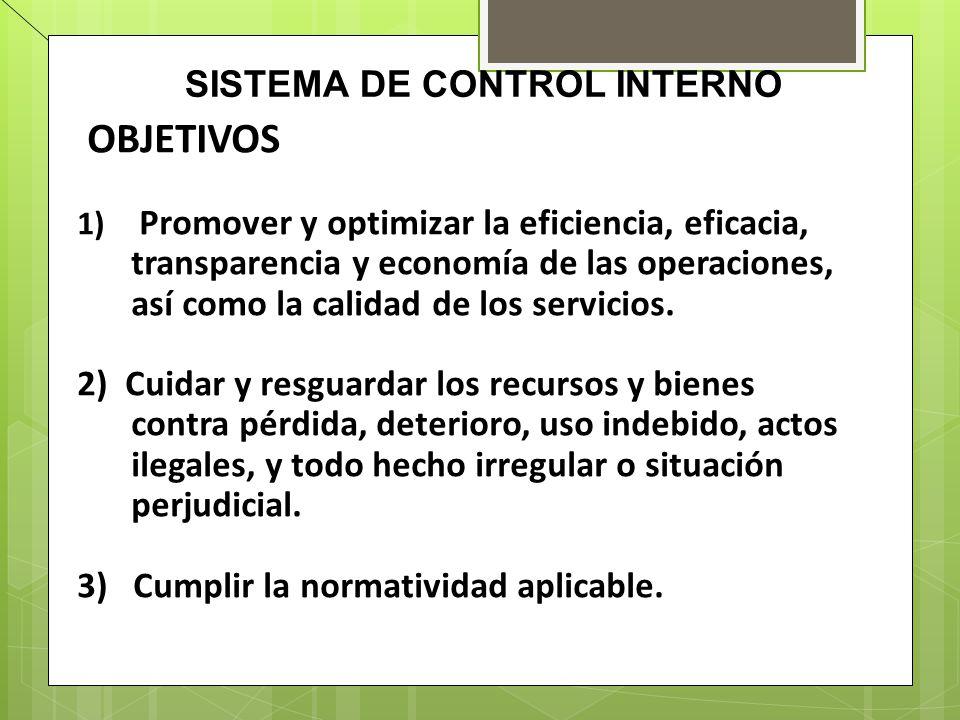SISTEMA DE CONTROL INTERNO OBJETIVOS 1) Promover y optimizar la eficiencia, eficacia, transparencia y economía de las operaciones, así como la calidad
