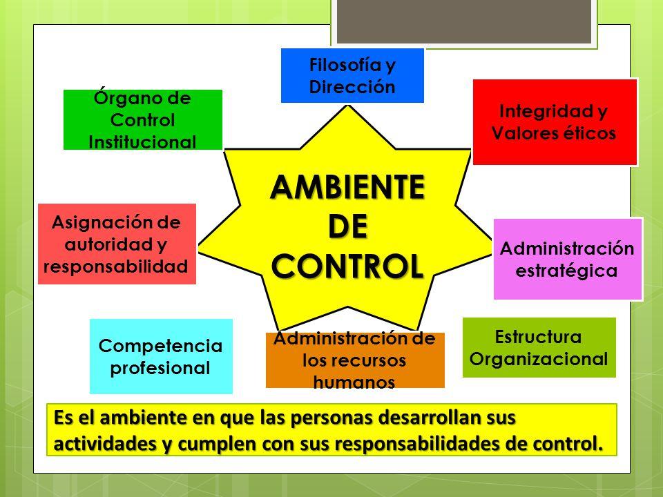 AMBIENTE DE CONTROL Órgano de Control Institucional Integridad y Valores éticos Administración estratégica Asignación de autoridad y responsabilidad F