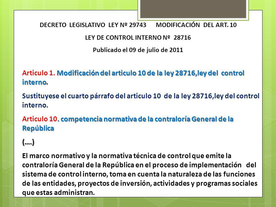Modificación del articulo 10 de la ley 28716,ley del control interno Articulo 1. Modificación del articulo 10 de la ley 28716,ley del control interno.