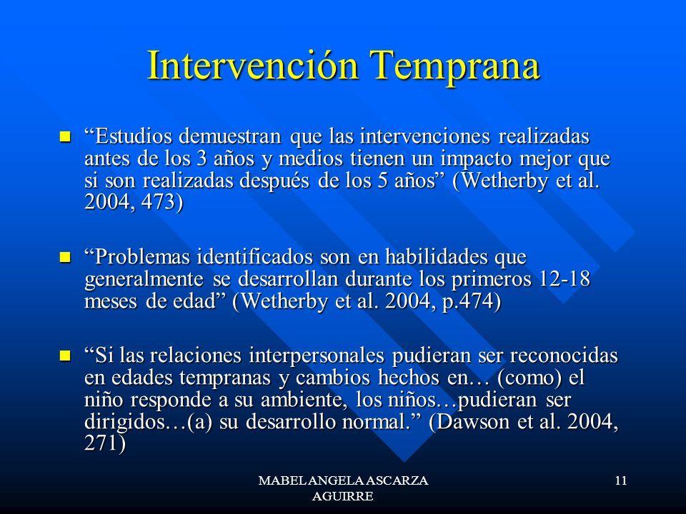 MABEL ANGELA ASCARZA AGUIRRE 11 Intervención Temprana Estudios demuestran que las intervenciones realizadas antes de los 3 años y medios tienen un impacto mejor que si son realizadas después de los 5 años (Wetherby et al.