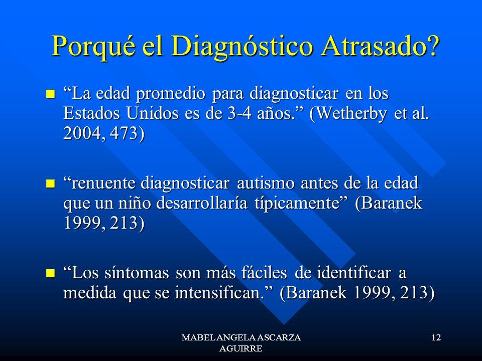 MABEL ANGELA ASCARZA AGUIRRE 12 Porqué el Diagnóstico Atrasado? La edad promedio para diagnosticar en los Estados Unidos es de 3-4 años. (Wetherby et