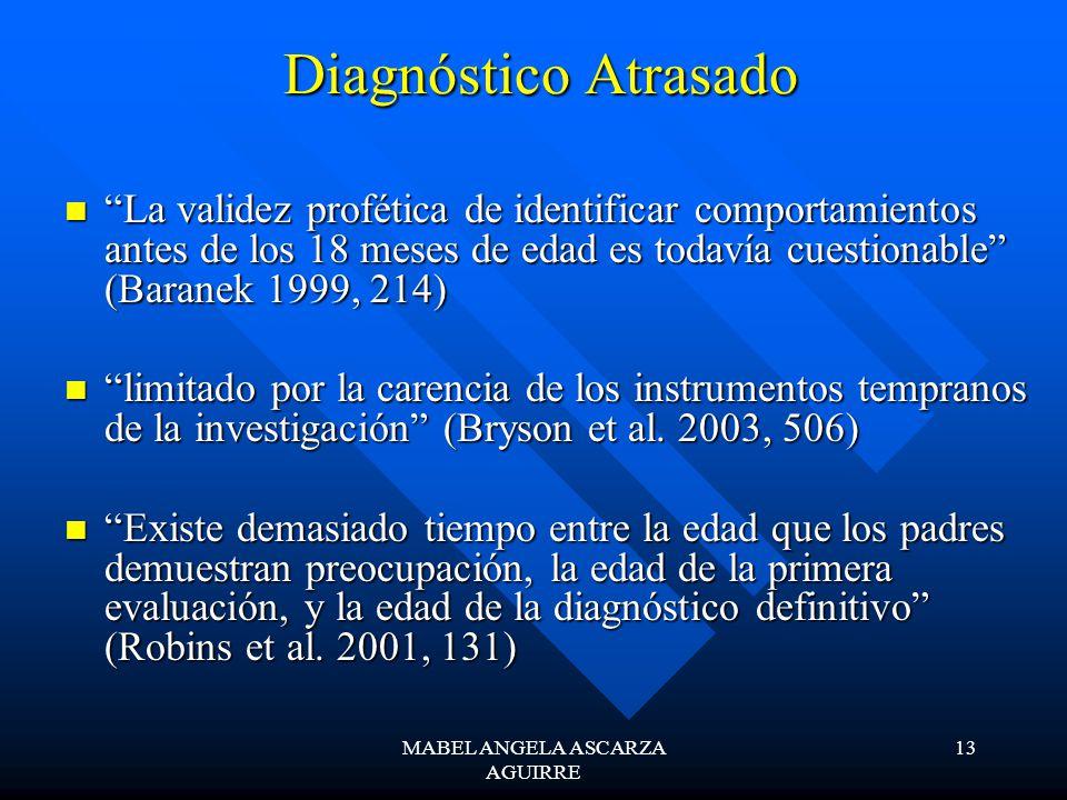 MABEL ANGELA ASCARZA AGUIRRE 13 Diagnóstico Atrasado Diagnóstico Atrasado La validez profética de identificar comportamientos antes de los 18 meses de