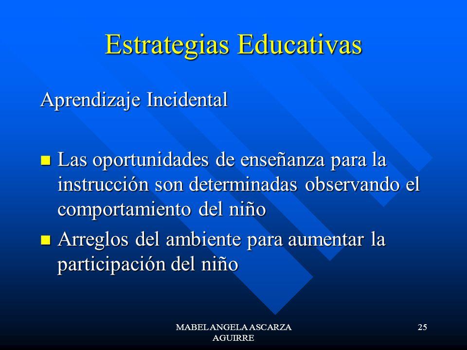 MABEL ANGELA ASCARZA AGUIRRE 25 Estrategias Educativas Aprendizaje Incidental Las oportunidades de enseñanza para la instrucción son determinadas obse