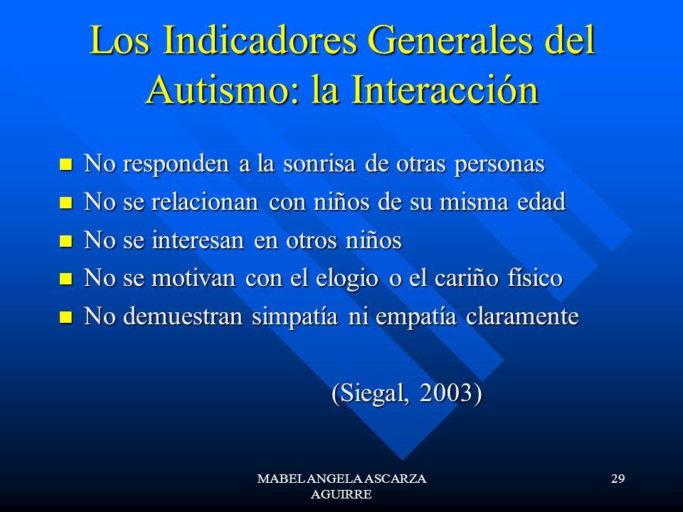 MABEL ANGELA ASCARZA AGUIRRE 29 Los Indicadores Generales del Autismo: la Interacción No responden a la sonrisa de otras personas No responden a la so