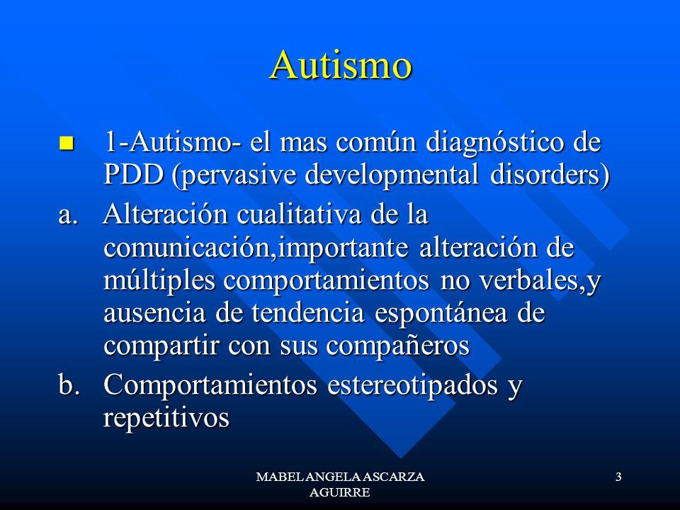 MABEL ANGELA ASCARZA AGUIRRE 3 Autismo 1-Autismo- el mas común diagnóstico de PDD (pervasive developmental disorders) 1-Autismo- el mas común diagnóst