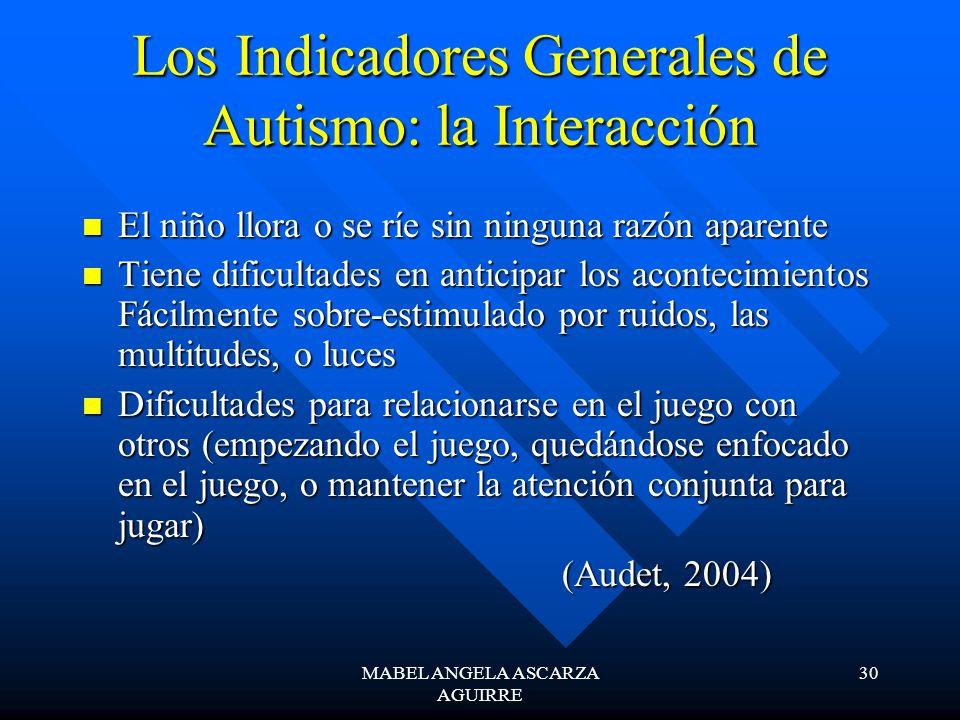 MABEL ANGELA ASCARZA AGUIRRE 30 Los Indicadores Generales de Autismo: la Interacción El niño llora o se ríe sin ninguna razón aparente El niño llora o