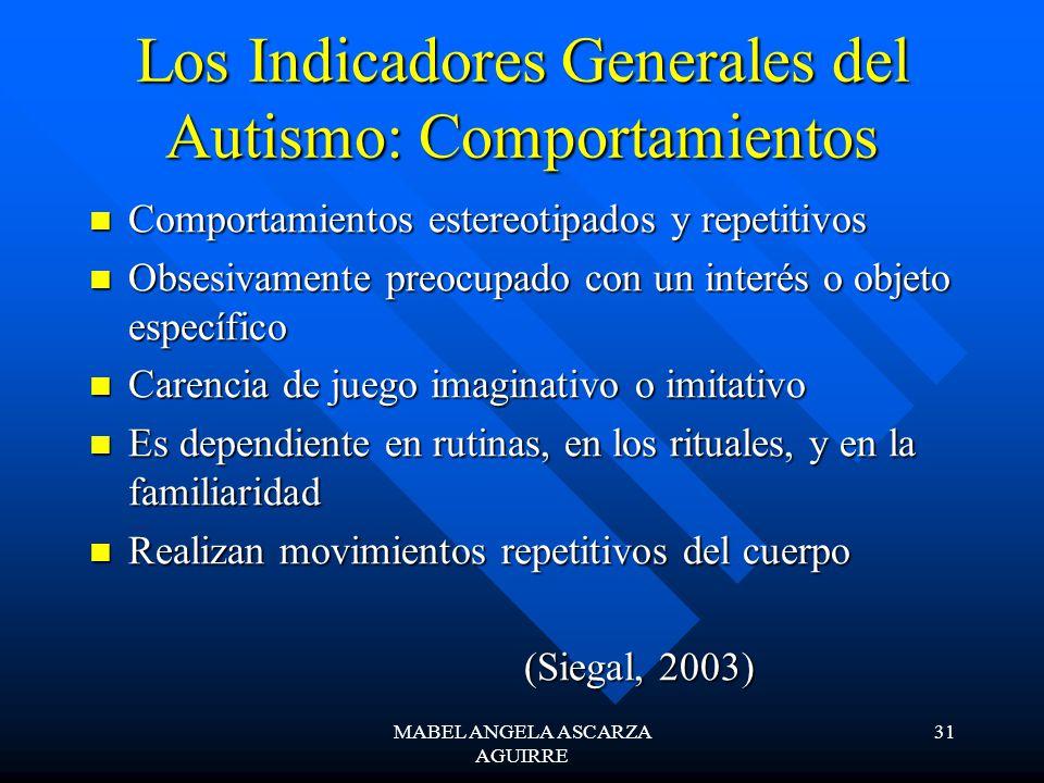 MABEL ANGELA ASCARZA AGUIRRE 31 Los Indicadores Generales del Autismo: Comportamientos Comportamientos estereotipados y repetitivos Comportamientos es