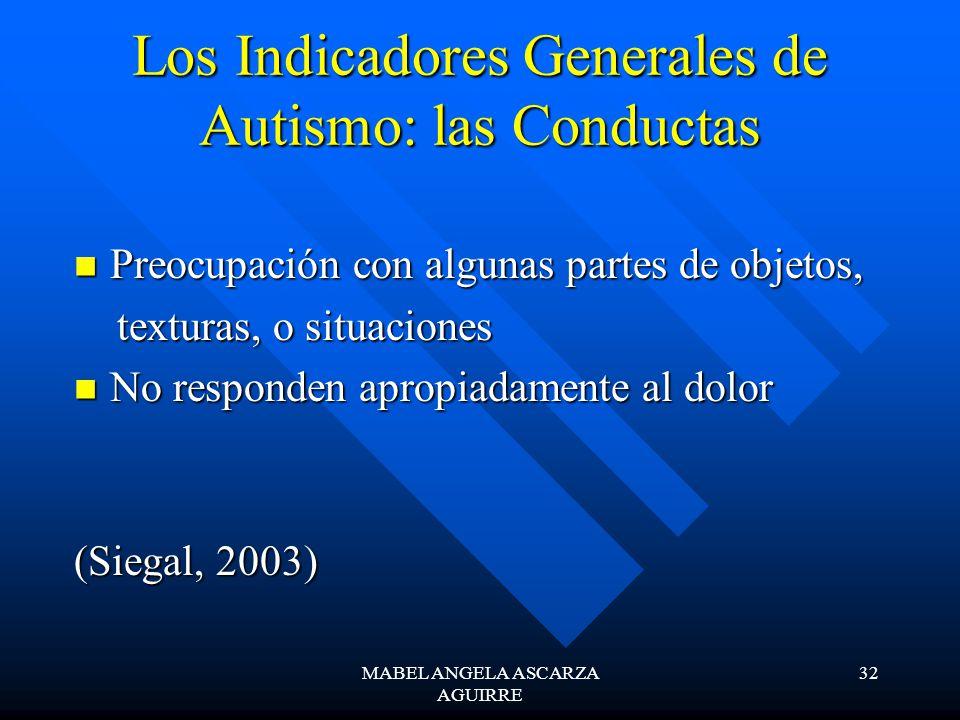 MABEL ANGELA ASCARZA AGUIRRE 32 Los Indicadores Generales de Autismo: las Conductas Preocupación con algunas partes de objetos, Preocupación con algun
