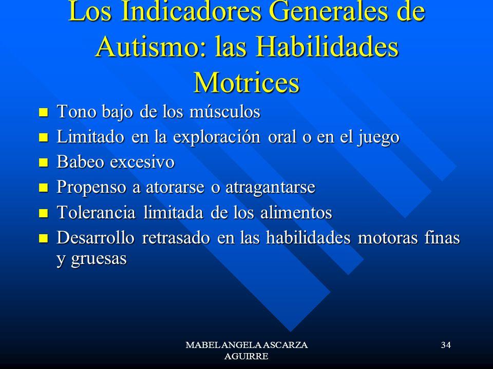 MABEL ANGELA ASCARZA AGUIRRE 34 Los Indicadores Generales de Autismo: las Habilidades Motrices Tono bajo de los músculos Tono bajo de los músculos Lim