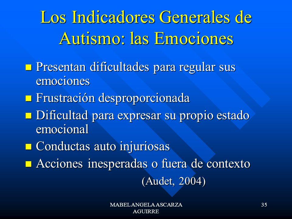 MABEL ANGELA ASCARZA AGUIRRE 35 Los Indicadores Generales de Autismo: las Emociones Presentan dificultades para regular sus emociones Presentan dificu