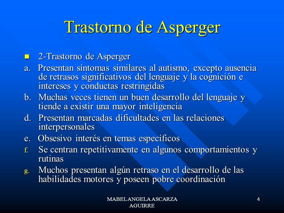 MABEL ANGELA ASCARZA AGUIRRE 4 Trastorno de Asperger 2-Trastorno de Asperger 2-Trastorno de Asperger a. Presentan síntomas similares al autismo, excep