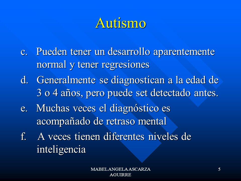 MABEL ANGELA ASCARZA AGUIRRE 5 Autismo c. Pueden tener un desarrollo aparentemente normal y tener regresiones d. Generalmente se diagnostican a la eda