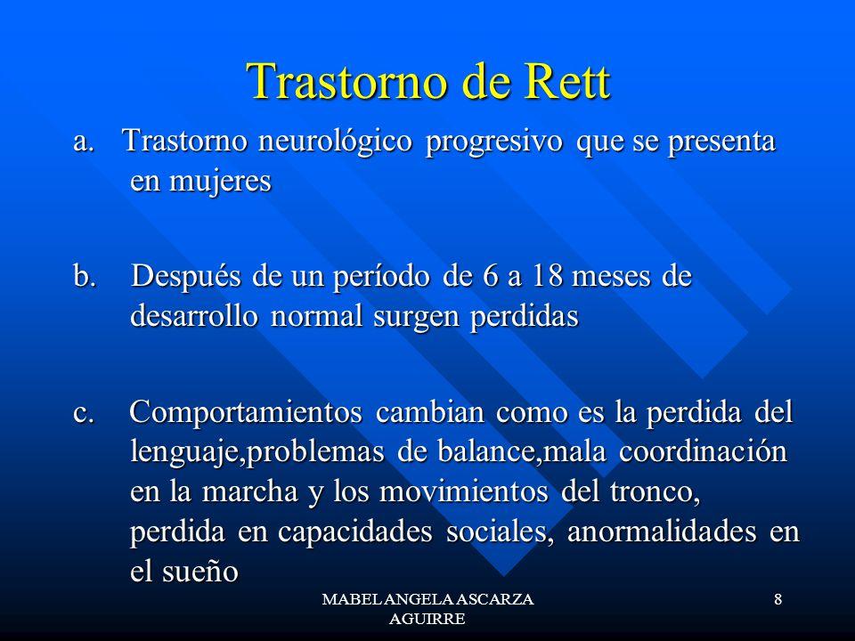 MABEL ANGELA ASCARZA AGUIRRE 8 Trastorno de Rett a. Trastorno neurológico progresivo que se presenta en mujeres b. Después de un período de 6 a 18 mes