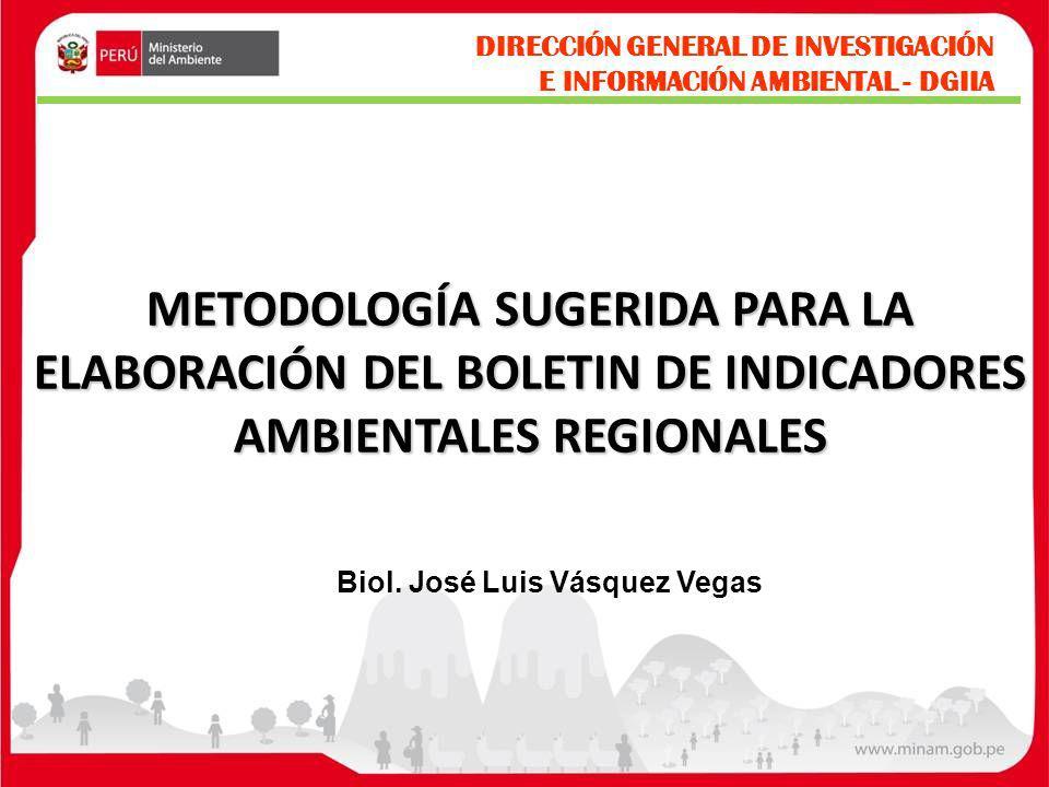 METODOLOGÍA SUGERIDA PARA LA ELABORACIÓN DEL BOLETIN DE INDICADORES AMBIENTALES REGIONALES DIRECCIÓN GENERAL DE INVESTIGACIÓN E INFORMACIÓN AMBIENTAL