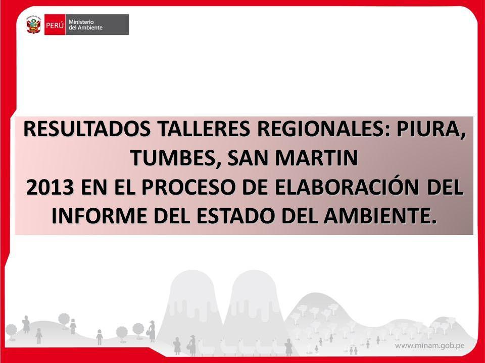 RESULTADOS TALLERES REGIONALES: PIURA, TUMBES, SAN MARTIN 2013 EN EL PROCESO DE ELABORACIÓN DEL INFORME DEL ESTADO DEL AMBIENTE.