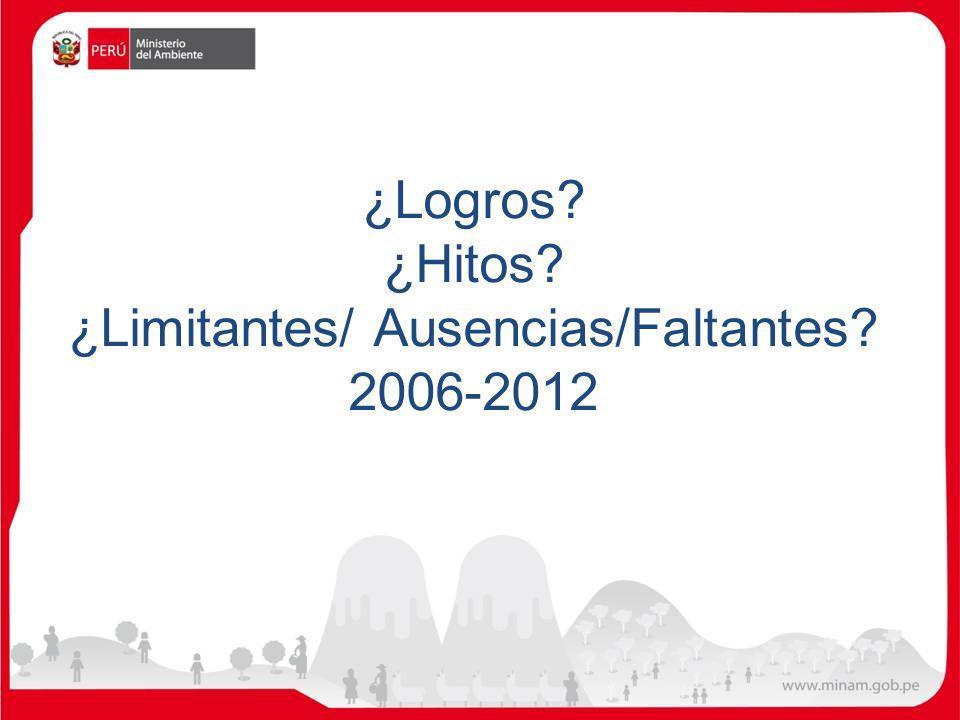 ¿Logros? ¿Hitos? ¿Limitantes/ Ausencias/Faltantes? 2006-2012