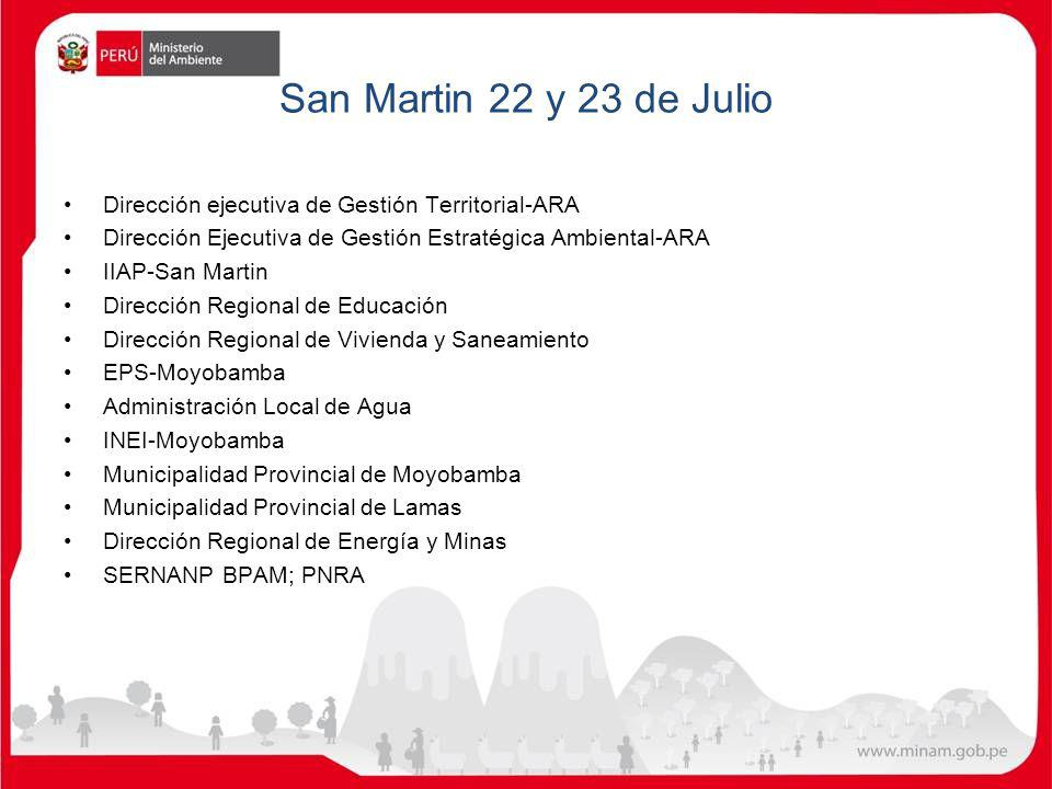 San Martin 22 y 23 de Julio Dirección ejecutiva de Gestión Territorial-ARA Dirección Ejecutiva de Gestión Estratégica Ambiental-ARA IIAP-San Martin Di