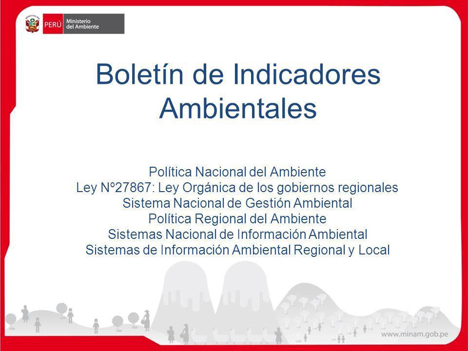 Boletín de Indicadores Ambientales Política Nacional del Ambiente Ley Nº27867: Ley Orgánica de los gobiernos regionales Sistema Nacional de Gestión Am