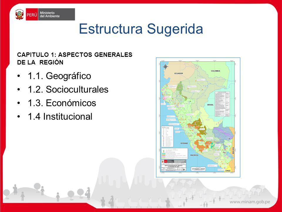 Estructura Sugerida CAPITULO 1: ASPECTOS GENERALES DE LA REGIÓN 1.1. Geográfico 1.2. Socioculturales 1.3. Económicos 1.4 Institucional