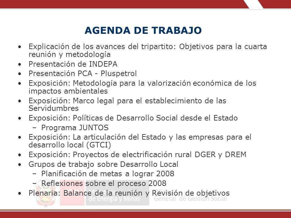 AGENDA DE TRABAJO Explicación de los avances del tripartito: Objetivos para la cuarta reunión y metodología Presentación de INDEPA Presentación PCA -