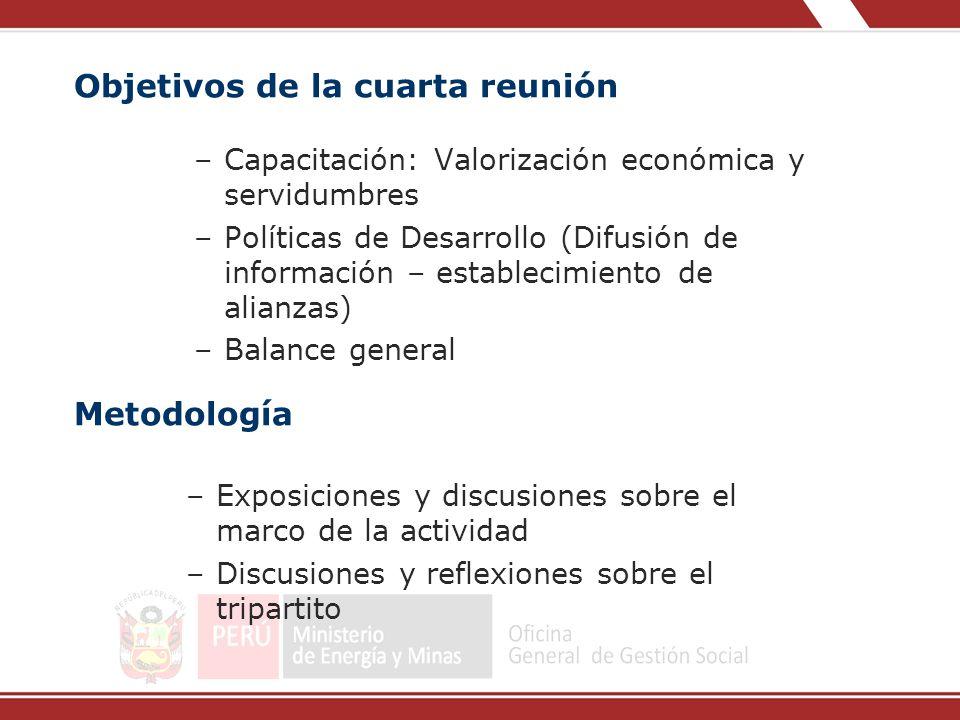 Objetivos de la cuarta reunión –Capacitación: Valorización económica y servidumbres –Políticas de Desarrollo (Difusión de información – establecimient