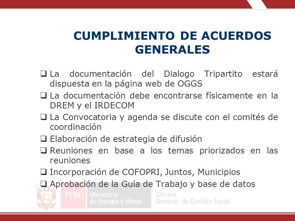 CUMPLIMIENTO DE ACUERDOS GENERALES La documentación del Dialogo Tripartito estará dispuesta en la página web de OGGS La documentación debe encontrarse