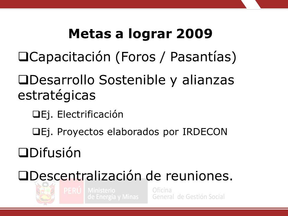 Metas a lograr 2009 Capacitación (Foros / Pasantías) Desarrollo Sostenible y alianzas estratégicas Ej. Electrificación Ej. Proyectos elaborados por IR