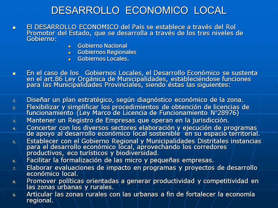 DESARROLLO ECONOMICO LOCAL El DESARROLLO ECONOMICO del País se establece a través del Rol Promotor del Estado, que se desarrolla a través de los tres niveles de Gobierno: El DESARROLLO ECONOMICO del País se establece a través del Rol Promotor del Estado, que se desarrolla a través de los tres niveles de Gobierno: Gobierno Nacional Gobierno Nacional Gobiernos Regionales Gobiernos Regionales Gobiernos Locales.