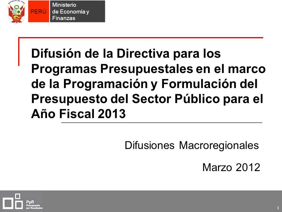 PERÚ Ministerio de Economía y Finanzas 1 Difusión de la Directiva para los Programas Presupuestales en el marco de la Programación y Formulación del P