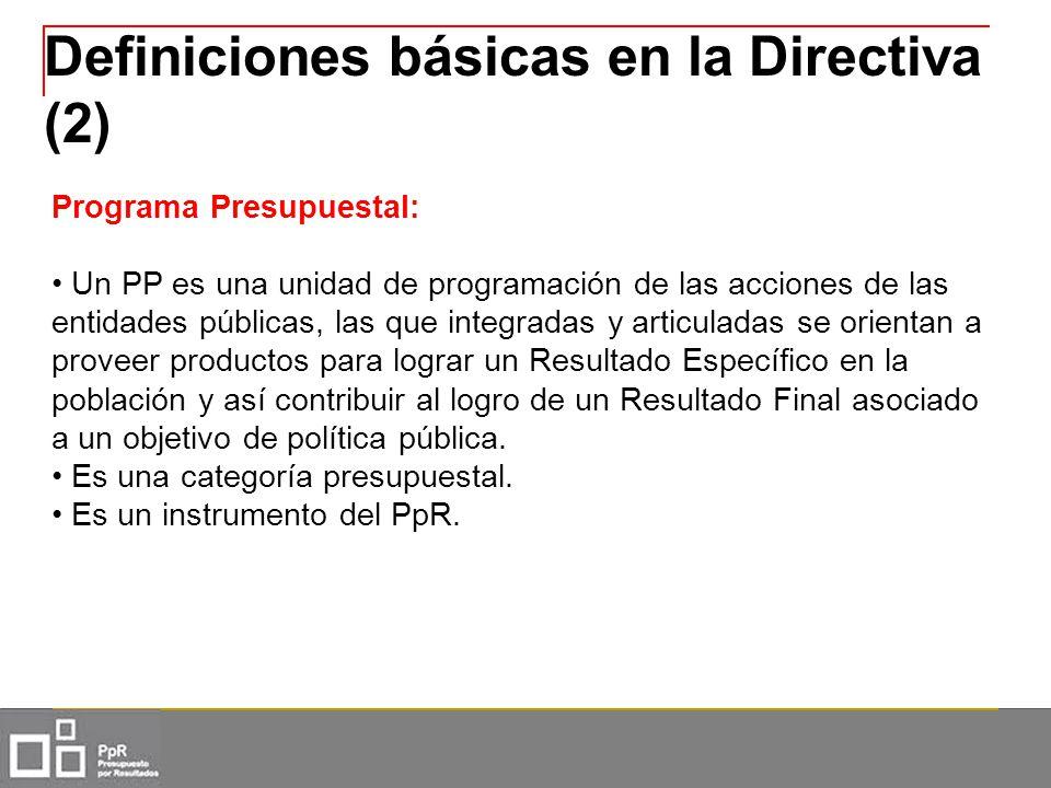 Definiciones básicas en la Directiva (2) Programa Presupuestal: Un PP es una unidad de programación de las acciones de las entidades públicas, las que