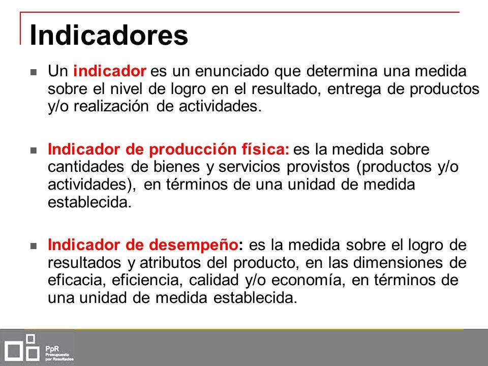 Indicadores Un indicador es un enunciado que determina una medida sobre el nivel de logro en el resultado, entrega de productos y/o realización de act