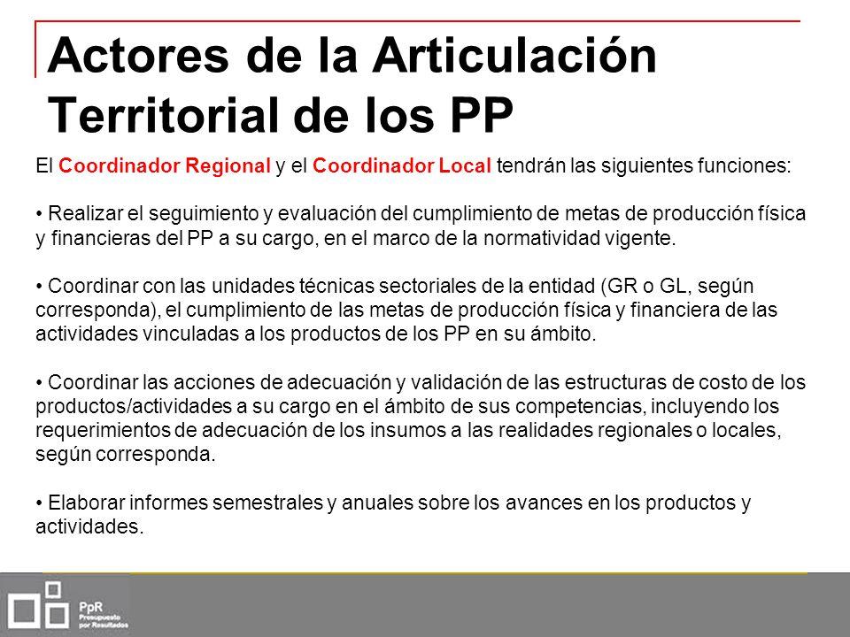 Actores de la Articulación Territorial de los PP El Coordinador Regional y el Coordinador Local tendrán las siguientes funciones: Realizar el seguimie