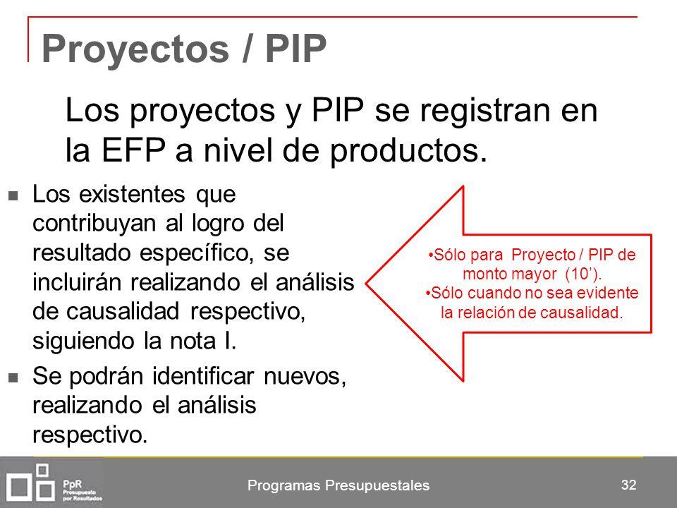 Programas Presupuestales 32 Proyectos / PIP Los existentes que contribuyan al logro del resultado específico, se incluirán realizando el análisis de c