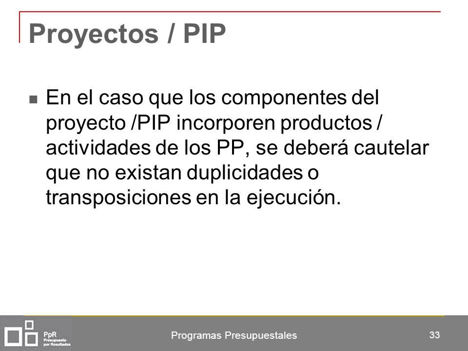 Proyectos / PIP En el caso que los componentes del proyecto /PIP incorporen productos / actividades de los PP, se deberá cautelar que no existan dupli