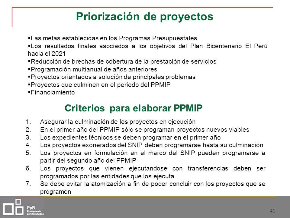 49 Priorización de proyectos Las metas establecidas en los Programas Presupuestales Los resultados finales asociados a los objetivos del Plan Bicenten