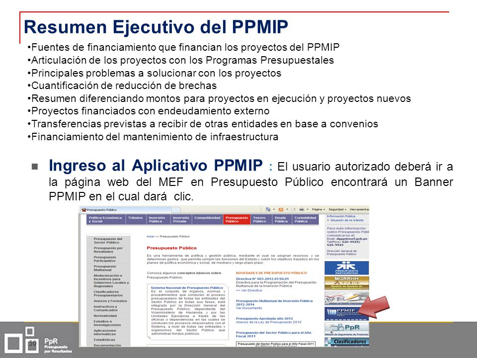 Ingreso al Aplicativo PPMIP : El usuario autorizado deberá ir a la página web del MEF en Presupuesto Público encontrará un Banner PPMIP en el cual dar
