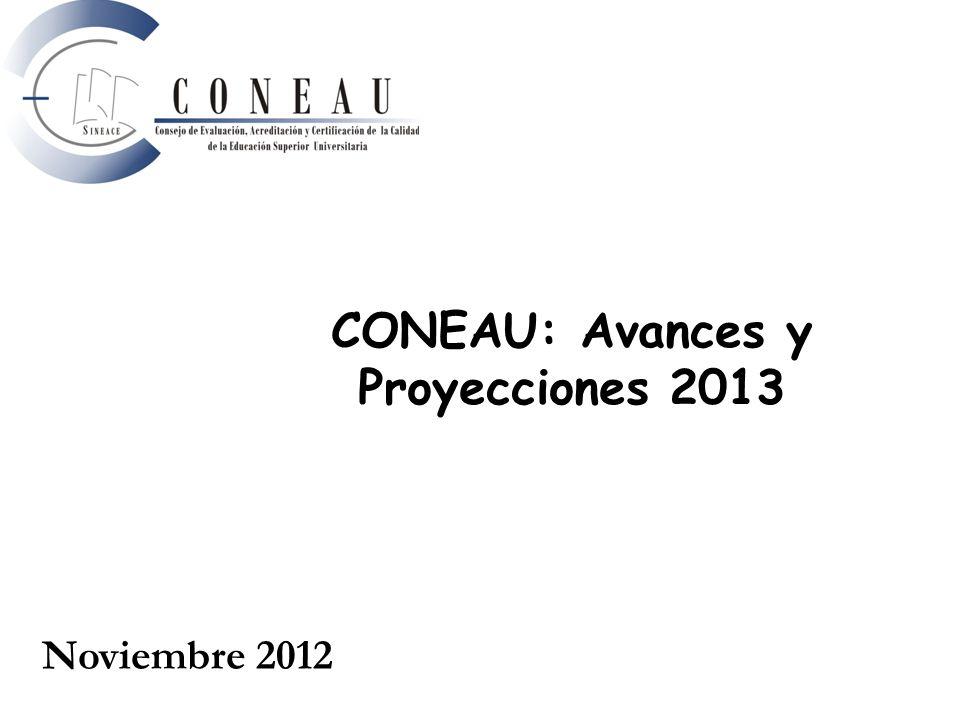CONEAU: Avances y Proyecciones 2013 Noviembre 2012