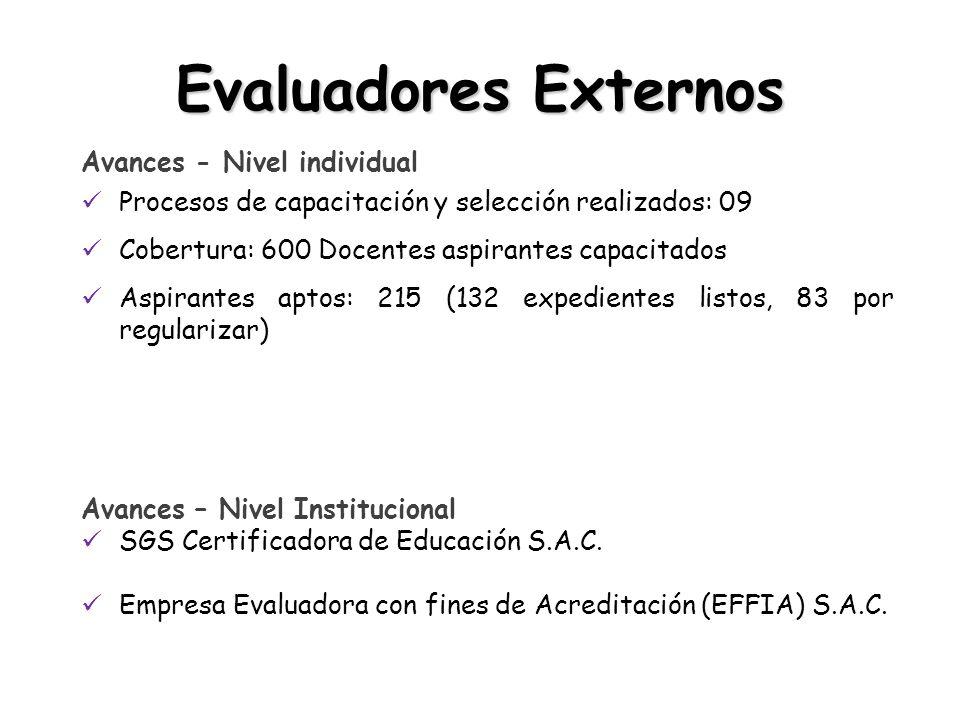 Avances - Nivel individual Procesos de capacitación y selección realizados: 09 Cobertura: 600 Docentes aspirantes capacitados Aspirantes aptos: 215 (132 expedientes listos, 83 por regularizar) Avances – Nivel Institucional SGS Certificadora de Educación S.A.C.