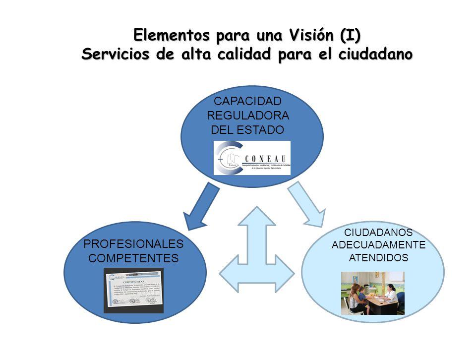 Elementos para una Visión (I) Servicios de alta calidad para el ciudadano CIUDADANOS ADECUADAMENTE ATENDIDOS PROFESIONALES COMPETENTES CAPACIDAD REGULADORA DEL ESTADO