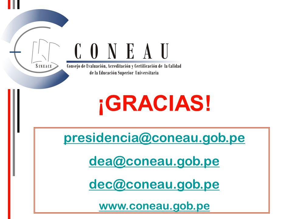 ¡GRACIAS! presidencia@coneau.gob.pe dea@coneau.gob.pe dec@coneau.gob.pe www.coneau.gob.pe