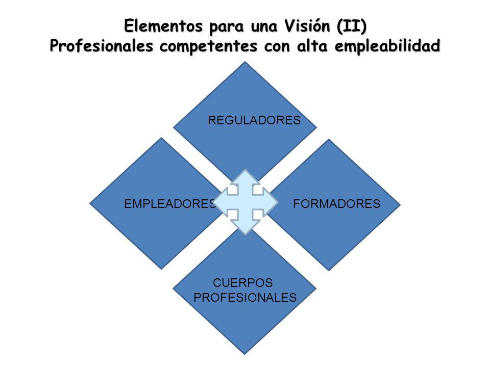 Elementos para una Visión (II) Profesionales competentes con alta empleabilidad REGULADORES EMPLEADORES CUERPOS PROFESIONALES FORMADORES