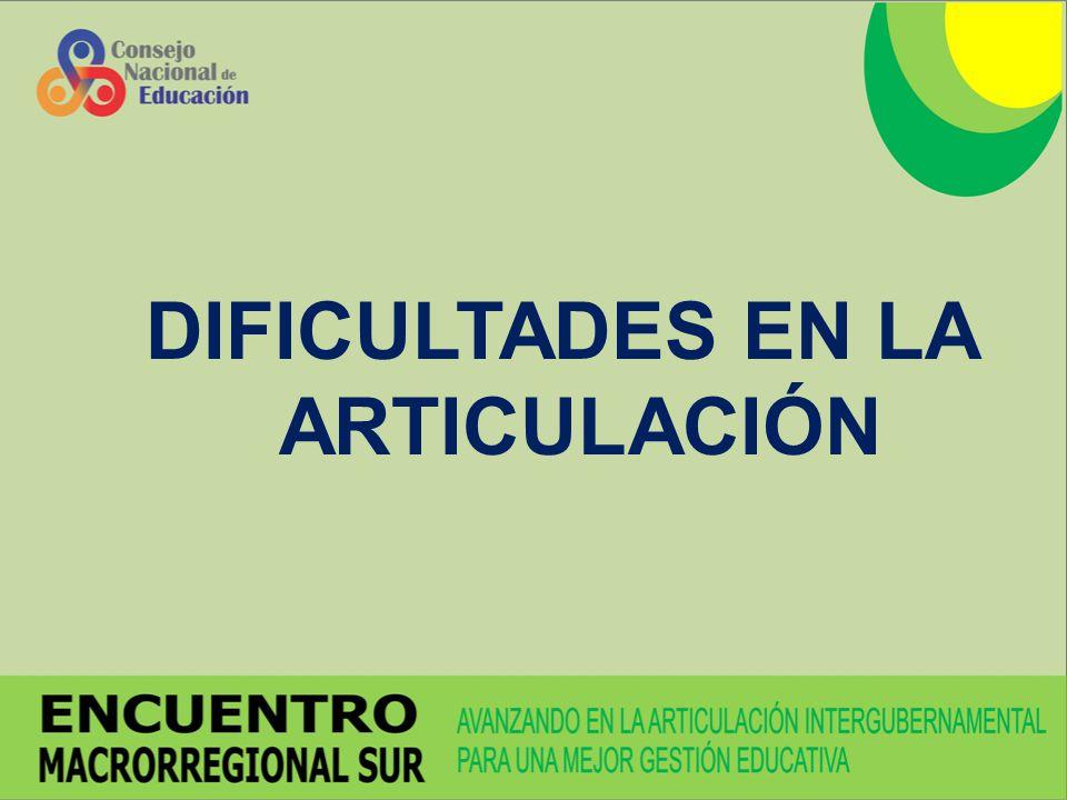 DIFICULTADES EN LA ARTICULACIÓN