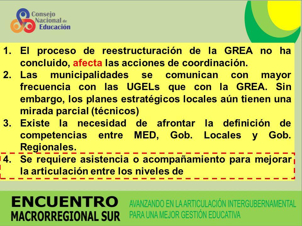 1.El proceso de reestructuración de la GREA no ha concluido, afecta las acciones de coordinación. 2.Las municipalidades se comunican con mayor frecuen